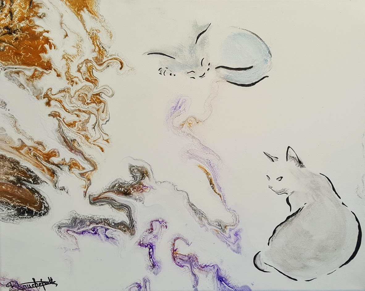white abstract cats