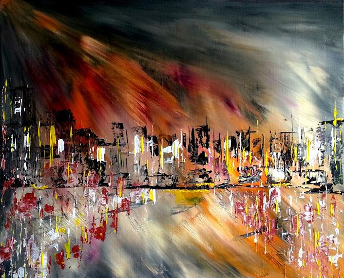 """tableau de gauchepatte intitulé """"ville lumière"""""""