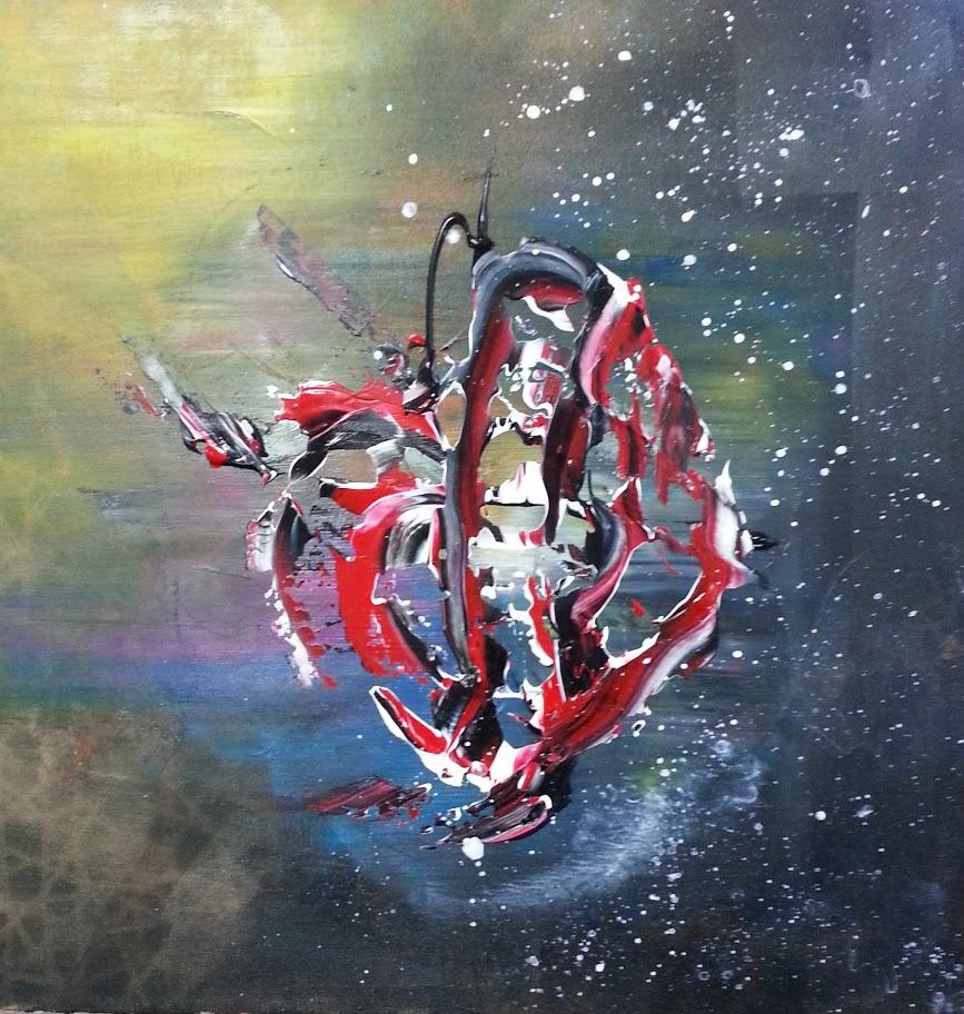"""tableau de gauchepatte intitulé """"fish abstract """""""